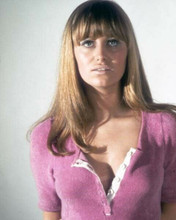 Susan George wears open clingy purple sweater from 1971 Fright 16x20 Poster