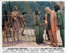 Planet of the Apes 1968 Dr Zaius Cornelius Zira look at Heston & Harrison caged