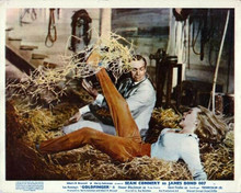 Goldfinger vintage artwork 8x10 photo Sean Connery Honor Blackman stable fight