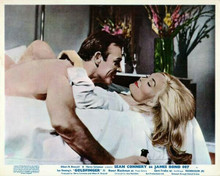 Goldfinger vintage artwork 8x10 photo Sean Connery in bed with Shirley Eaton