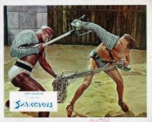 Spartacus Woody Strode & Kirk Douglas battle in gladiator arena 8x10 inch photo