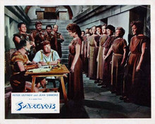 Spartacus Peter Ustinov looks up at Jean Simmons & female slaves 8x10 inch photo