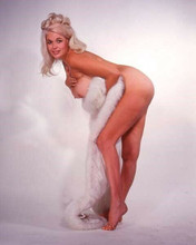 Jayne Mansfield glamour pose holding white fur stole full length 8x10 inch photo