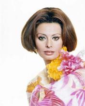 Sophia Loren with bob hair cut wearing colorful dress mid 1960's era 8x10 photo