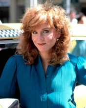 Marilu Henner as Elaine Nardo standing by checkered cab Taxi TV 8x10 inch photo