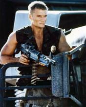 Dolph Lundgren tough guy portrait with sub machine gun 8x10 inch photo