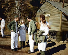 M.A.S.H. Loretta Swit & Alan Alda outside surgery building on base 8x10 photo