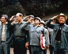 M.A.S.H. TV series Hawkeye Winchester Klinger & Fr Mulcahy saluting 8x10 photo
