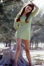 Raquel Welch hair in pigtails full length in green mini skirt 4x6 inch photo