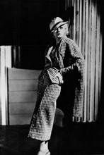 Jean Harlow enigmatic full length pose in hat & overcoat 4x6 inch real photo