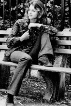 Lindsay Wagner sits on park bench from 1973 Two People 4x6 inch real photo
