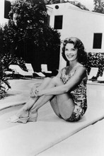 Patricia Owens leggy pin up pose in swimsuit by her pool 4x6 inch photo