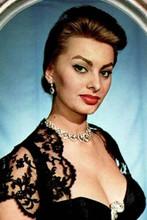 Sophia Loren looking voluptious huge cleavage in black dress & red lipstick 8x12
