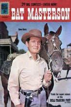 Bat Masterson TV Dell comic book cover art Gene Barry with horse 8x12 inch photo