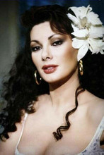 Edwige Fenech Italian beauty in very low cut dress flower in hair 8x12 photo