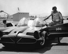 Batman TV series Adam West & Burt Ward exit the Batmobile at airport 8x10 photo