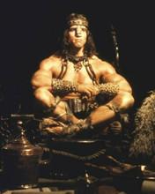 Arnold Schwarzenegger as Conan The Barbarian seated pose 8x10 inch photo