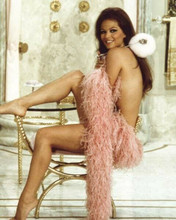 Claudia Cardinale pin-up leggy pose just wearing feather boa 8x10 inch photo