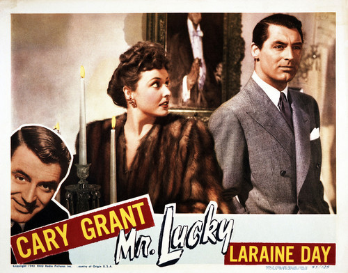 This is an image of Vintage Reproduction Lobby Card of Mr. Lucky 295049