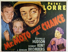 This is an image of Vintage Reproduction Lobby Card of Mr. Moto Takes a Chance 296350