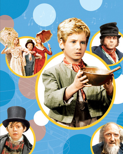 This is an image of 298019 Mark Lester as Oliver and Ron Moody as Fagin and Oliver Reed as Bill Sikes and Jack Wild as The Artful Dodger in Oliver