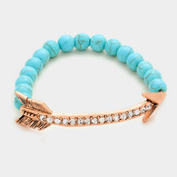 Crystal Lined Arrow with semi precious turquoise bead stretch bracelet