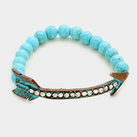 Crystal lined arrow & semi precious turquoise beaded stretch bracelet