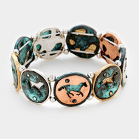Round Metal  Running  Horse stretch bracelet