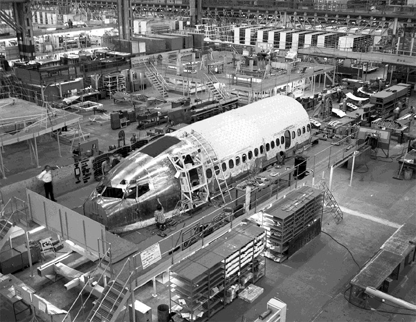 The First Wichita-Built  Boeing 737-100 in December 1966 - Boeing Company Photo