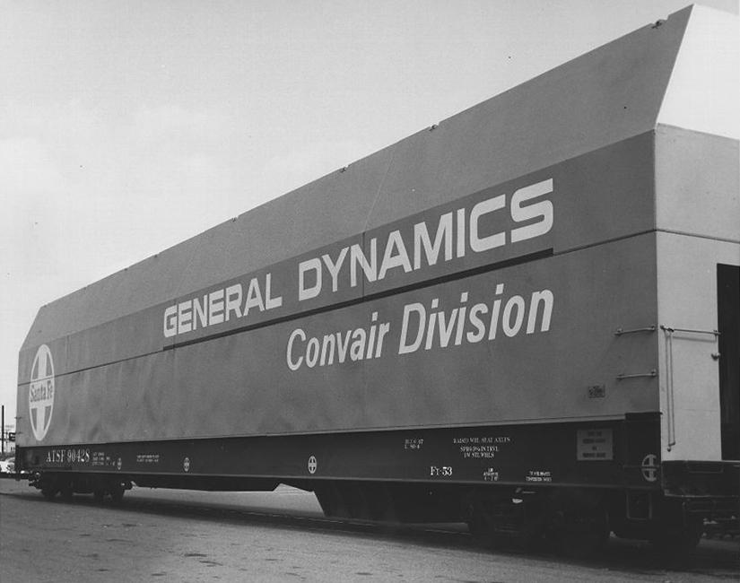 "Santa Fe Flatcar ATSF 90428 with ""General Dynamics Convair Division"" Hood"