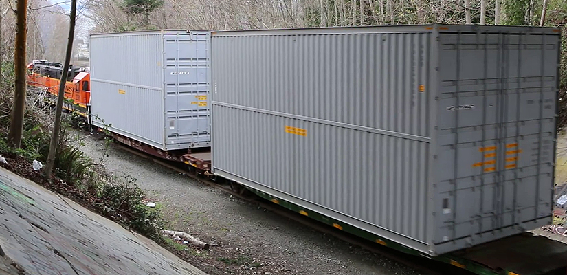 BNSF EMD GP38-2 Locomotives 2080 and 2361 with Oversized Containers Headed For Boeing's Everett Plant