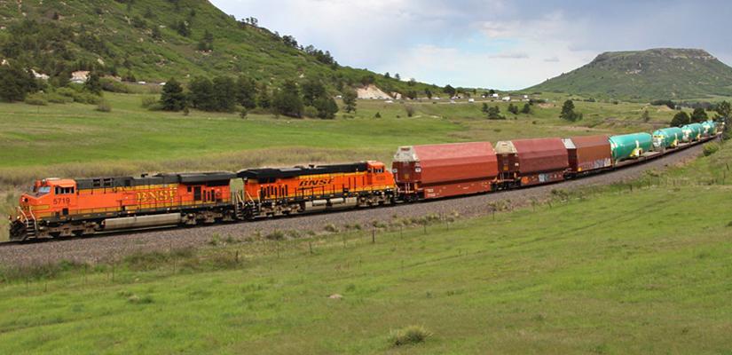 BNSF GE ES44AC 5719 and 5580 Locomotives Leading Fuselage Train Through Larkspur, Colorado