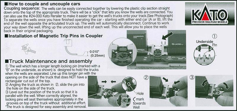 Kato Gunderson MAXI Double Stack Car User Instructions Courtesy Kato USA