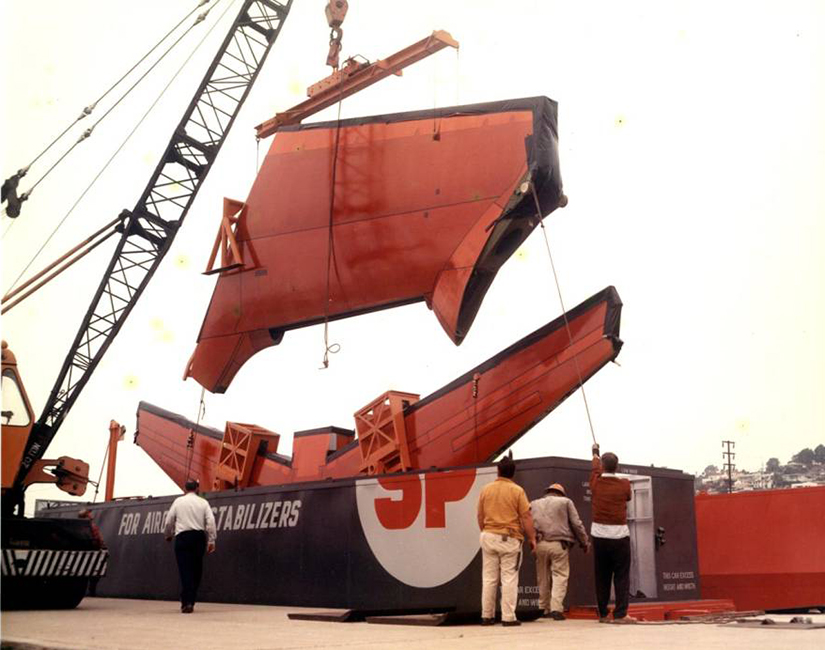 With Hood Removed, Aircraft Vertical Stabilizer Assembly is Loaded Into a Southern Pacific Skybox Car