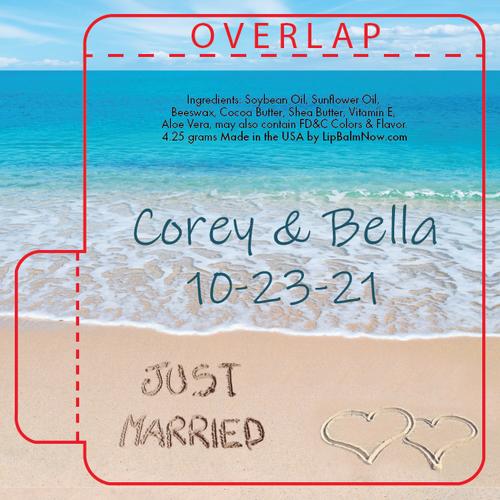 Just Married Written in the Beach Lip Balm Tube