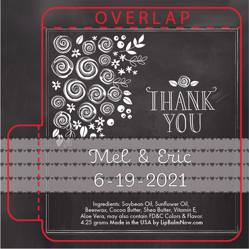 Black Chalk Board with Thank You Lip Balm Tube
