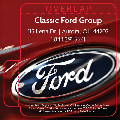 Ford Logo on Red Background Lip Balm Tube