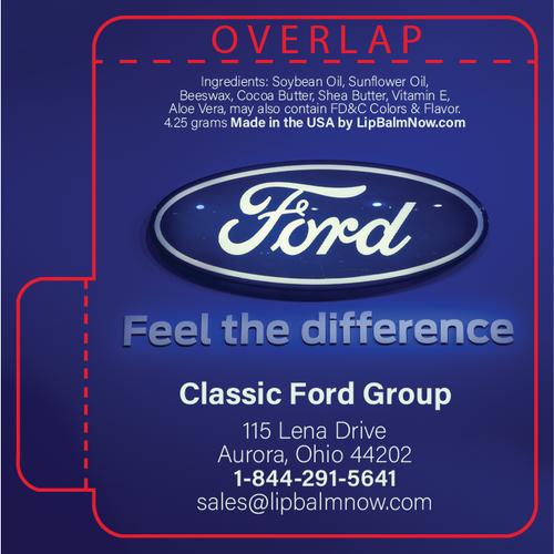 Ford Logo on Bright Blue Background Lip Balm Tube