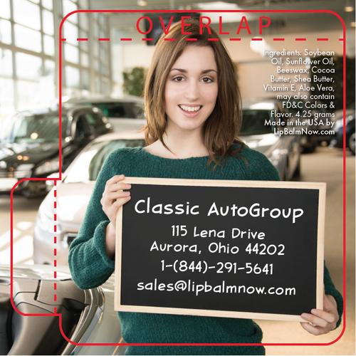 Woman Holding Chalk Board in Car Dealership Lip Balm Tube