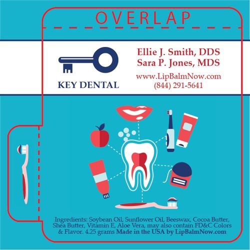 Turquoise Dental Hygiene Diagram Lip Balm Tube