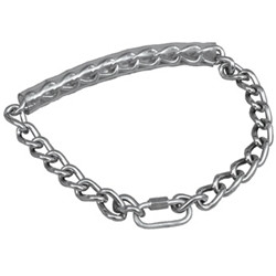 "This chain collar is made from extra strength welded steel rings which will not rust or tarnish. Chain is 22"" in length."