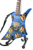 Miniature Guitar Tribal Blue Skull