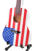 Miniature Acoustic Guitar USA Flag