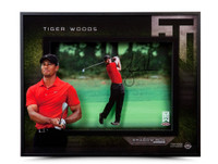 TIGER WOODS AUTOGRAPHED 'APPROACH' 16 X 20 SHADOW BOX UDA