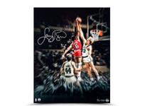 """LARRY BIRD AUTOGRAPHED """"BLOCKING THE DOCTOR"""" 16 X 20 UDA LE 33"""