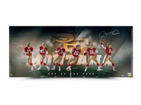 "JOE MONTANA AUTOGRAPHED ""ART OF THE PASS"" 36 X 15 UDA LE 50"