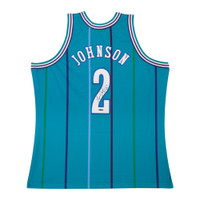 LARRY JOHNSON Autographed Authentic Mitchell & Ness Hornets Home Jersey UDA