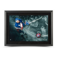 TEEMU SELANNE Autographed Winnipeg Jets Slap Shot Breaking Through UDA LE 25