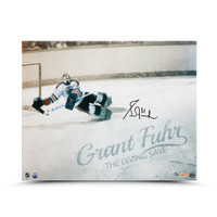 "GRANT FUHR Autographed Edmonton Oilers ""Diving Save"" 16"" x 20"" Photograpah UDA Limited to 31"