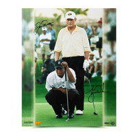 "Jack Nicklaus & Tiger Woods Autographed ""Match Play"" 16 x 20 Photo UDA"